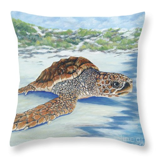 Sea Turtle Throw Pillow featuring the painting Dreaming Of Islands by Danielle Perry
