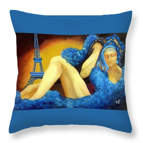 Paris Throw Pillow featuring the painting Dreaming Of Paris by Elizabeth Lisy Figueroa