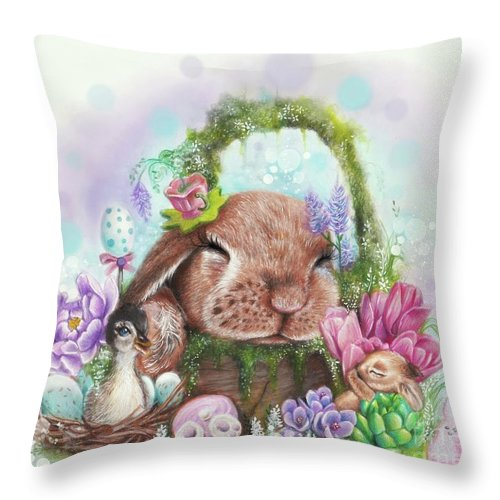 Garden Throw Pillow featuring the mixed media Dreaming Of Spring - Dreaming Of Collection by Sheena Pike