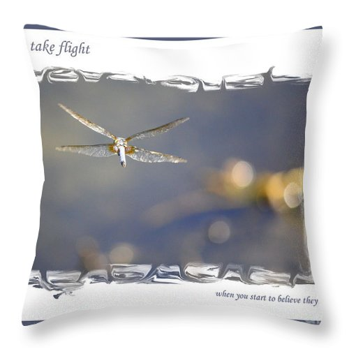 Greeting Cards Throw Pillow featuring the photograph Dreams Take Flight Poster Or Card by Carol Groenen