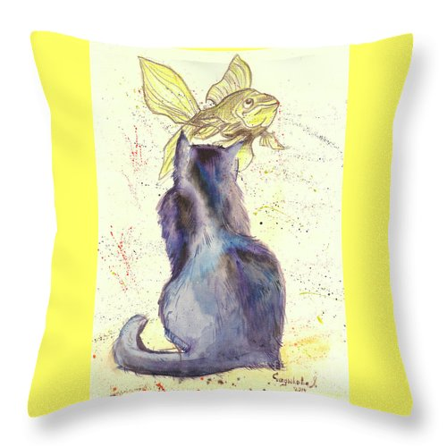 Cat Throw Pillow featuring the painting Dreams by Yana Sadykova