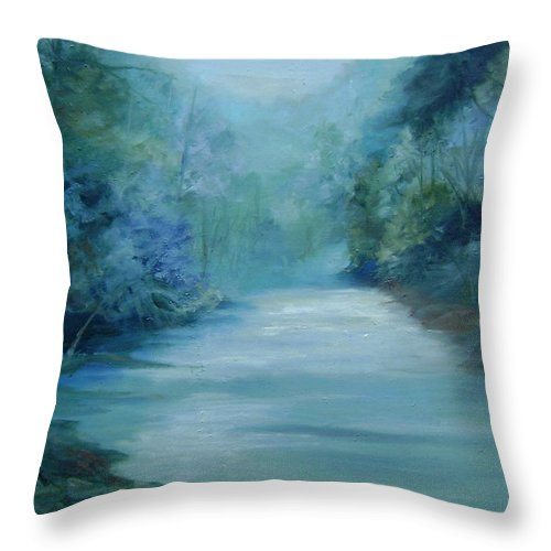 Burton River Georgia Throw Pillow featuring the painting Dreamsome by Ginger Concepcion
