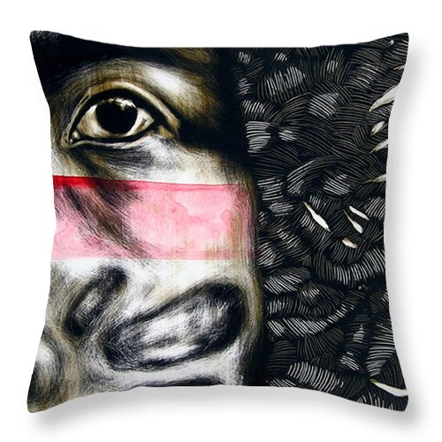 Throw Pillow featuring the mixed media Dregs of Summer by Chester Elmore