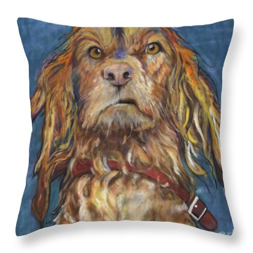 Golden Retriever Painting Throw Pillow featuring the pastel Drenched by Pat Saunders-White