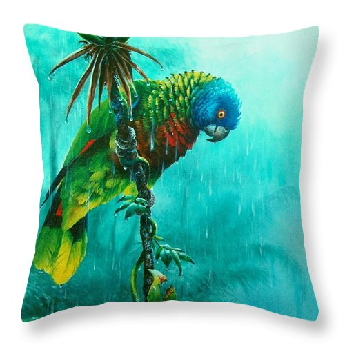 Chris Cox Throw Pillow featuring the painting Drenched - St. Lucia Parrot by Christopher Cox