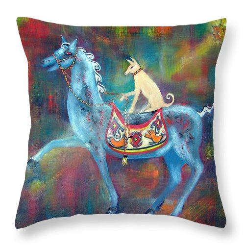 Horse With Dog Rider Throw Pillow featuring the painting Dressage Winners by Sarah Wharton White