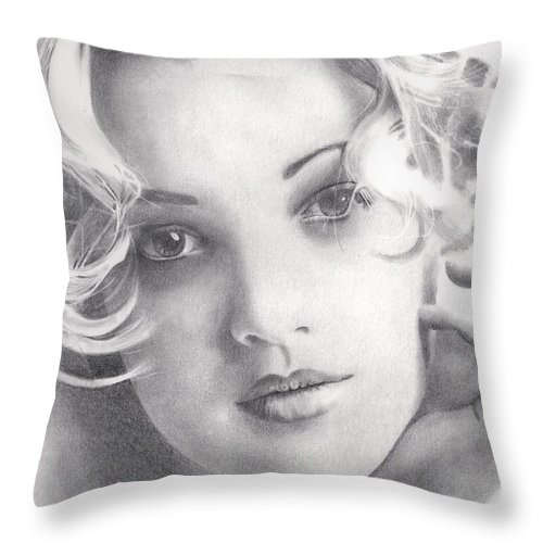 Drew Barrymore Throw Pillow featuring the drawing Drew Barrymore by Karen Townsend