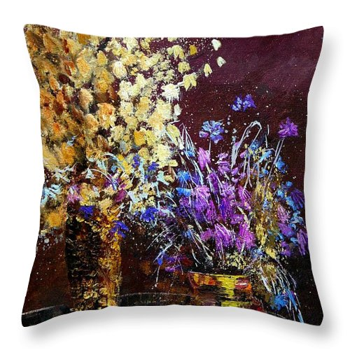 Flowers Throw Pillow featuring the painting Dried Flowers by Pol Ledent