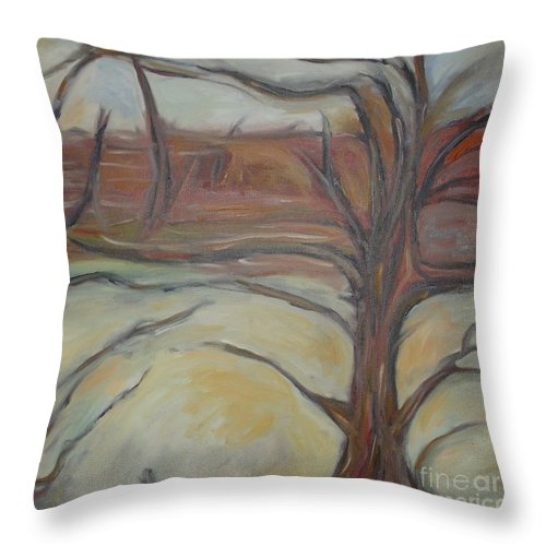 Woods Tree Abstract Original Painting Winter Throw Pillow featuring the painting Drift by Leila Atkinson