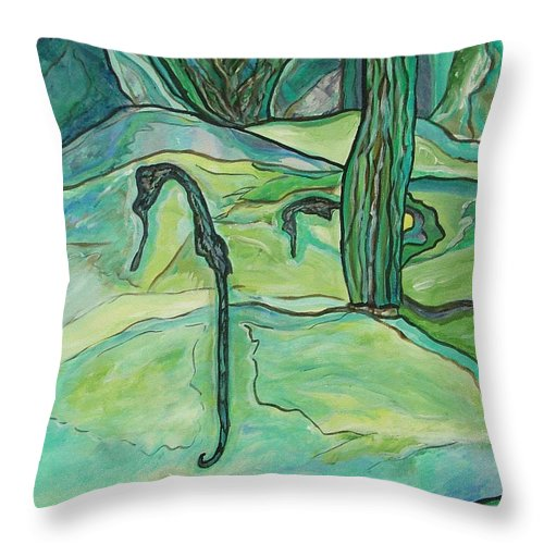 Seahorse Throw Pillow featuring the painting Drifting Seahorse by Heather Lennox