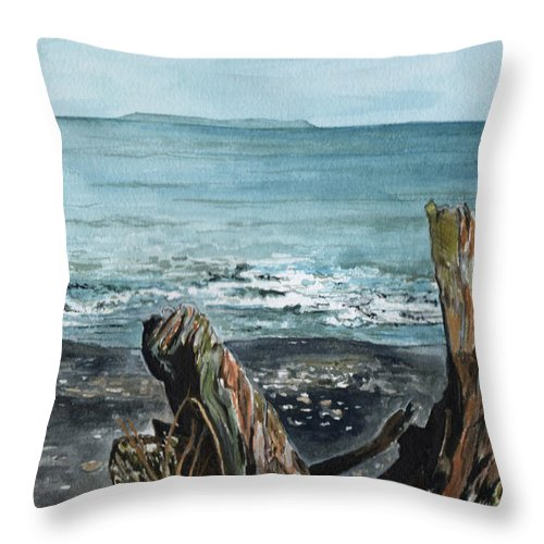 Watercolor Throw Pillow featuring the painting Driftwood by Brenda Owen