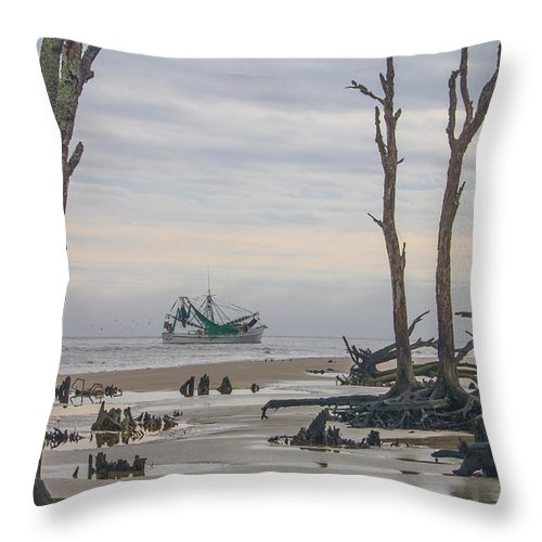 Jekyll Island Throw Pillow featuring the photograph Driftwood Shrimper by Christina Alcantara