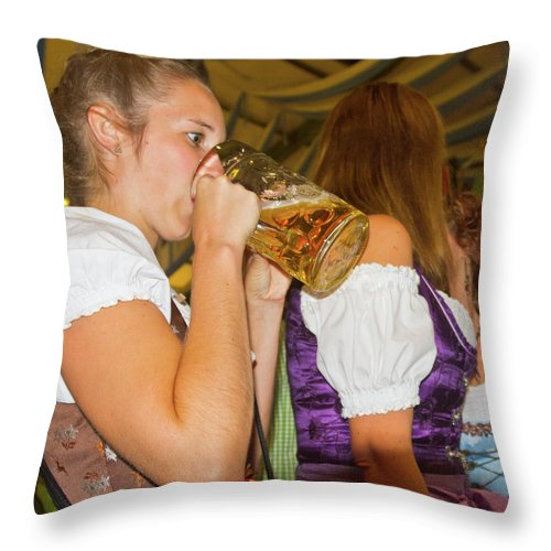 German Throw Pillow featuring the photograph Drink Up by Bernard Barcos