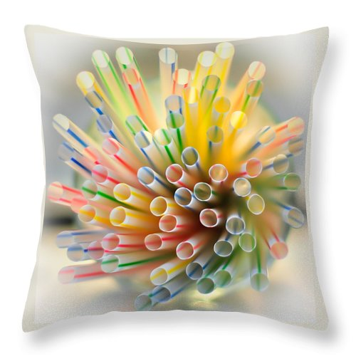 Terry D Photography Throw Pillow featuring the photograph Drinking Straws by Terry DeLuco