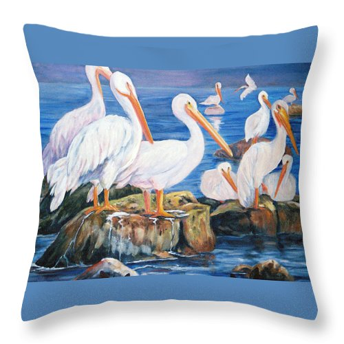 Pelicans On The Louisiana Jetties Throw Pillow featuring the painting Drippin Wet by Anne Dentler