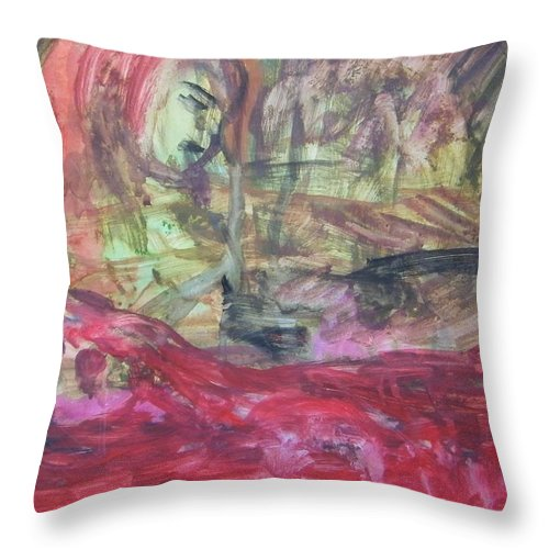 Abstract Throw Pillow featuring the painting Drive By Innocents by Judith Redman