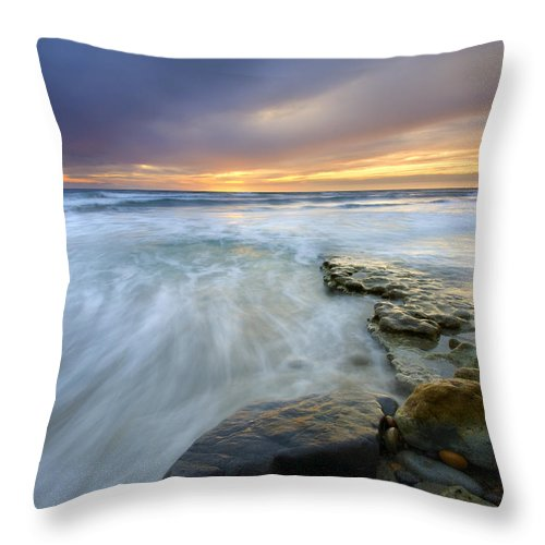 Rocks Throw Pillow featuring the photograph Driven Before The Storm by Mike Dawson