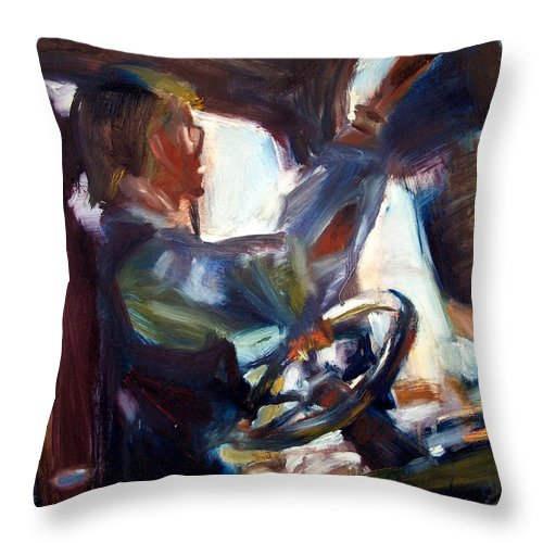 Dornberg Throw Pillow featuring the painting Driving A Truck by Bob Dornberg