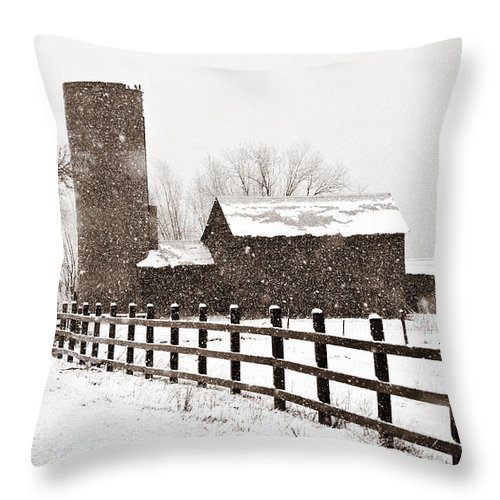 Americana Throw Pillow featuring the photograph Driving Down Cherryvale by Marilyn Hunt