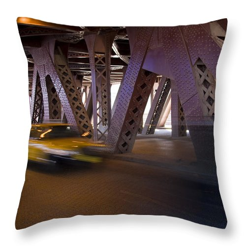 Chicago Windy City Bridge Steel Metal Taxi Street Road Fast Metro Urban Throw Pillow featuring the photograph Driving Fast by Andrei Shliakhau