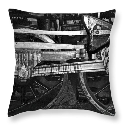 Trains Throw Pillow featuring the photograph Driving Wheels by Richard Rizzo