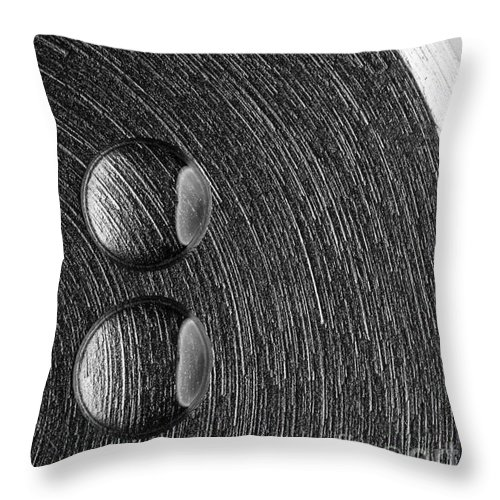 Steel Throw Pillow featuring the photograph Drops On Steel Black And White by Pawel Zaremba