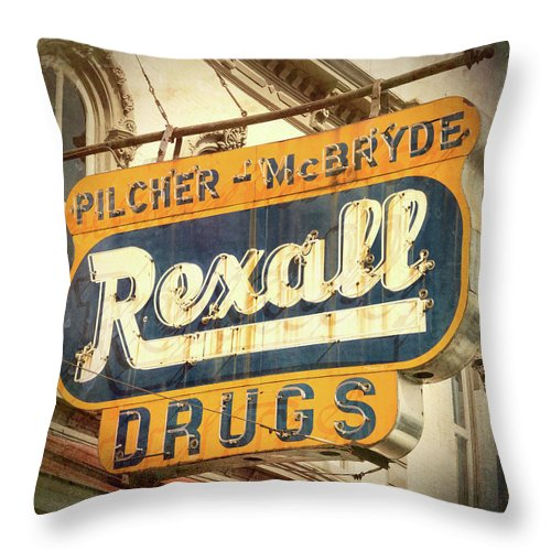 Selma Throw Pillow featuring the photograph Drug Store #3 by Stephen Stookey