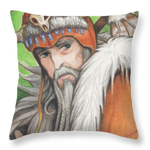 Atc Throw Pillow featuring the drawing Druid Priest by Amy S Turner