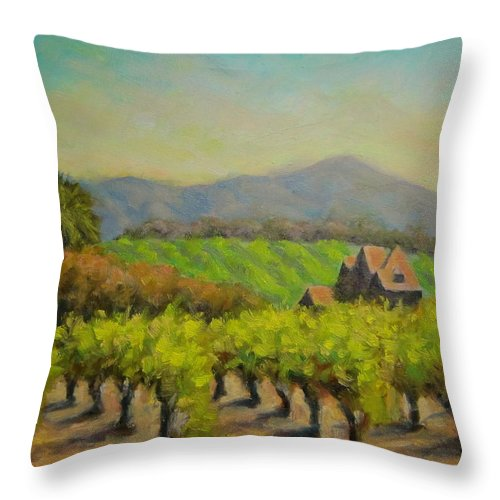 Vineyard Landscape Oil Painting Throw Pillow featuring the painting Dry Creek Valley View by David LeRoy Walker
