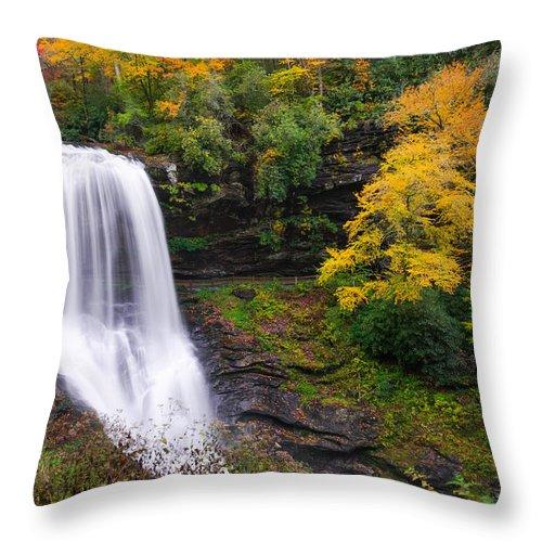 Waterfalls Throw Pillow featuring the photograph Dry Falls Highlands North Carolina by Rick Dunnuck