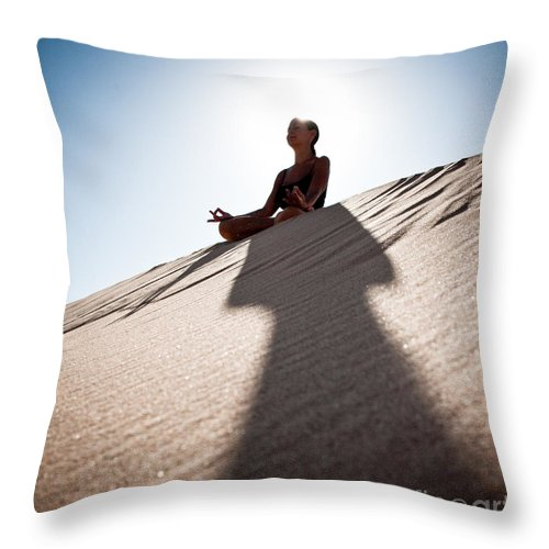 Yoga Throw Pillow featuring the photograph Dry Meditation by Scott Sawyer