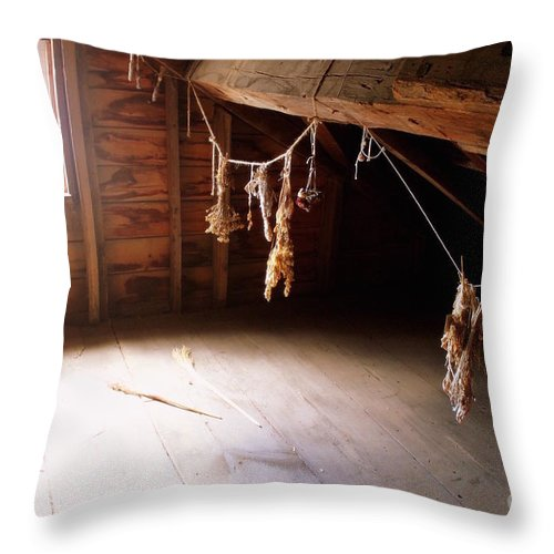 Attic Throw Pillow featuring the photograph Drying Herbs In Attic by Samiksa Art