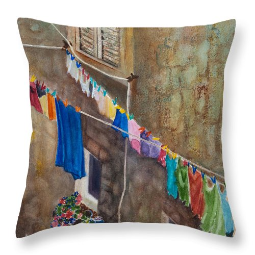 Laundry Throw Pillow featuring the painting Drying Time by Karen Fleschler