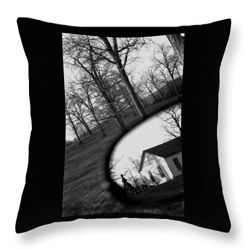 Death Throw Pillow featuring the photograph Duality - A Black And White Photograph Symbolically Representing The Gravity Of Choice by Angela Rath