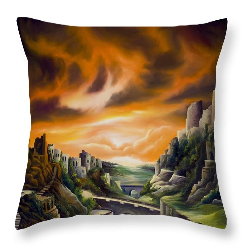 Ruins; Cityscape; Landscape; Nightmare; Horror; Power; Roman; City; World; Lost Empire; Dramatic; Sky; Red; Blue; Green; Scenic; Serene; Color; Vibrant; Contemporary; Greece; Stone; Rocks; Castle; Fantasy; Fire; Yellow; Tree; Bush Throw Pillow featuring the painting DualLands by James Christopher Hill
