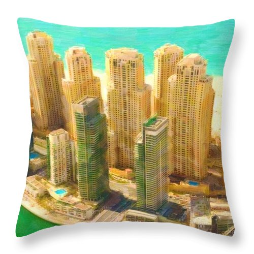 View Throw Pillow featuring the painting Dubai by Jeelan Clark