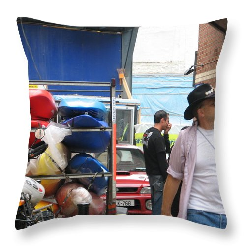 Alley Throw Pillow featuring the photograph Dublin Alley by Kelly Mezzapelle