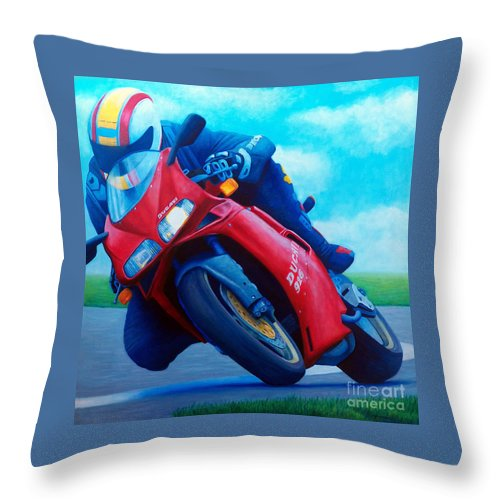 Motorcycle Throw Pillow featuring the painting Ducati 916 by Brian Commerford