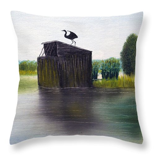 Brian Wallace Throw Pillow featuring the painting Duck Blind by Brian Wallace