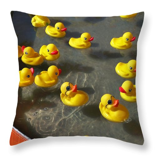 Duckies Throw Pillow featuring the photograph Duckies by Skip Hunt