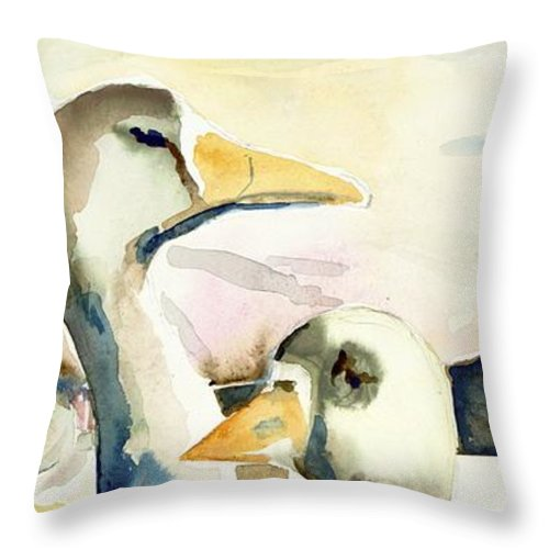 Throw Pillow featuring the painting Ducks And Geese by Kathleen Barnes