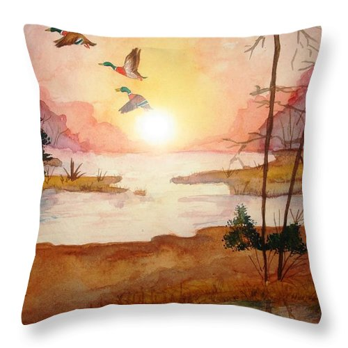 Ducks Throw Pillow featuring the painting Ducks by Melissa Wiater Chaney