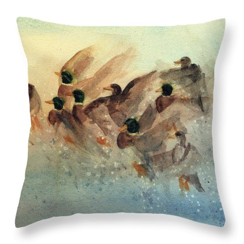 Duck Throw Pillow featuring the painting Ducks Rising by Kim Corpany