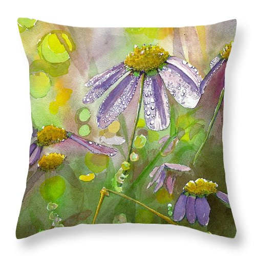 Watercolor Throw Pillow featuring the painting Due Today Z - Dew To Daisy by Lynn Babineau