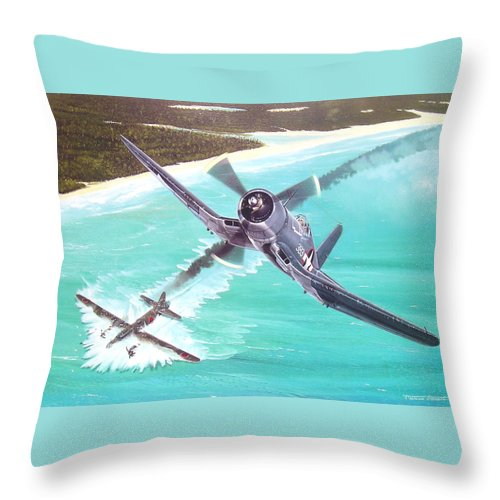 Military Throw Pillow featuring the painting Duel Over New Georgia by Marc Stewart