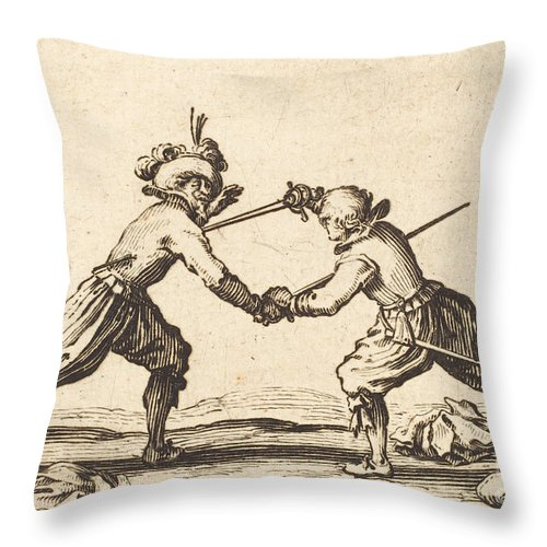 Throw Pillow featuring the drawing Duel With Swords by Jacques Callot