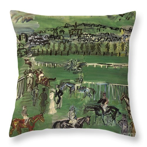 1928 Throw Pillow featuring the photograph Dufy: Race Track, 1928 by Granger