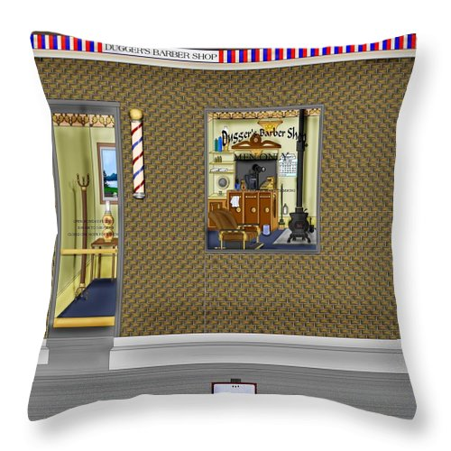 Townscape Throw Pillow featuring the painting Dugger's Barber Shop by Anne Norskog