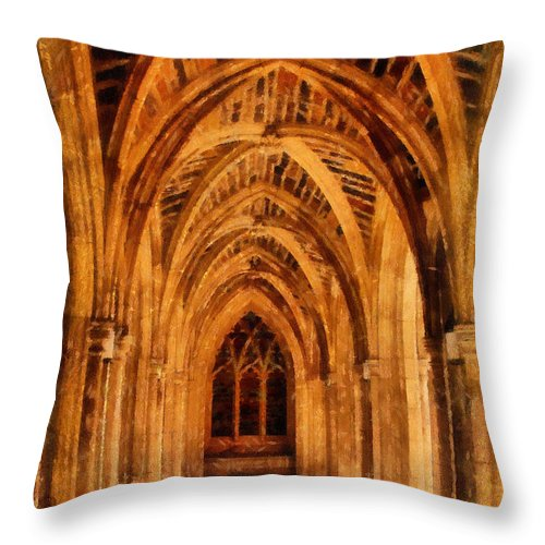 Duke University Throw Pillow featuring the photograph Duke Chapel by Betsy Foster Breen