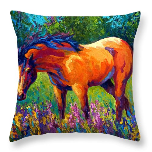 Horses Throw Pillow featuring the painting Dun Mare by Marion Rose